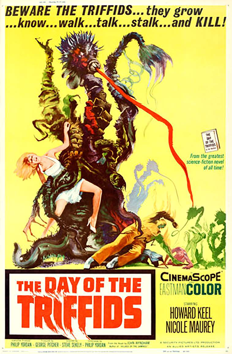 Old horror movie poster with a plant attacking people